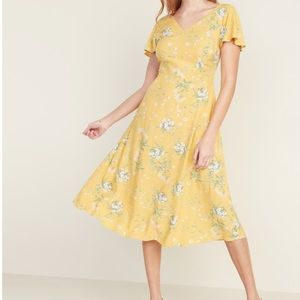 Old navy fit & flare floral midi dress